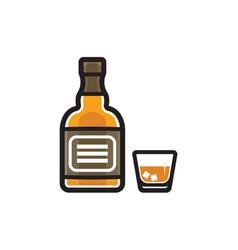 whiskey bottle isolated on white background vector image