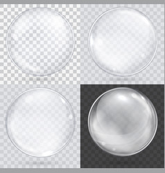 White transparent glass sphere on a checkered vector