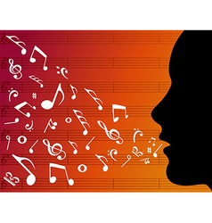 Woman head silhouette with music notes vector image