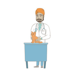 young indian veterinarian examining cat vector image