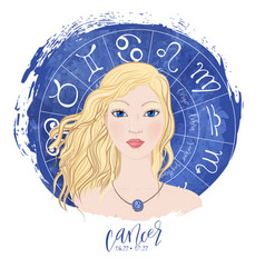 Zodiac signs cancer in image of beauty girl vector