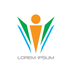 abstract leader teamwork logo vector image vector image