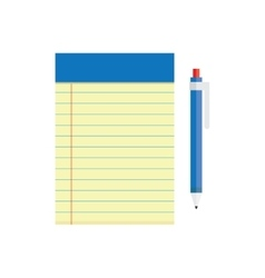 blank notebook and a pen lying near vector image