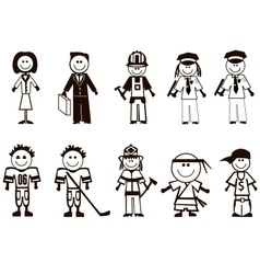 Cartoon professions icons vector image
