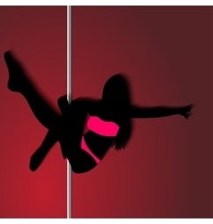 Pole dancer sexy silhouette the vector