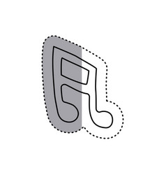 Sticker contour musical note icon flat vector