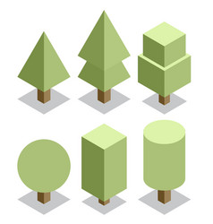 trees set 3d isometric vector image vector image