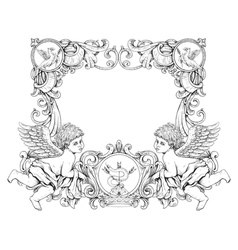 victorian frame with angels vector image