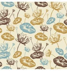 Vintage Lotus Flowers Pattern vector image