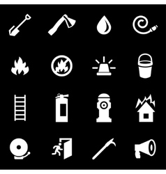 white firefighter icon set vector image