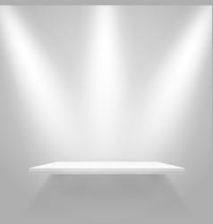 white illuminated shelf on the wall mockup vector image vector image