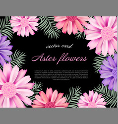 beautiful card with a different color aster vector image vector image