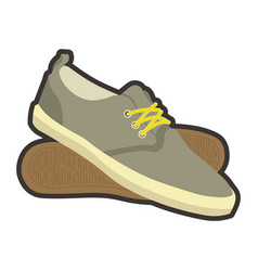 classical mens brown sneakers with yellow laces vector image