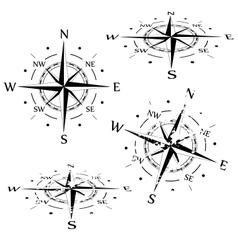 Grunge compass set vector image