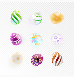 set of glass eggs with abstract pattern vector image