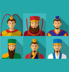 set of three kingdom character portrait in flat vector image