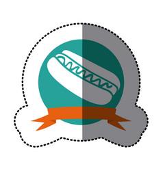 Emblem hot dog fast food icon vector