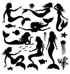 swimming underwater mermaid black vector image