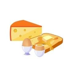 Toast Cheese And Egg Breakfast Food Elements vector image