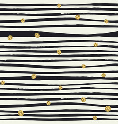 black brush lines and golden dots seamless vector image