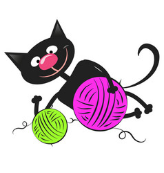 Black cat with a ball of wool vector