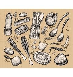 cooking food set of elements for restaurant menu vector image vector image