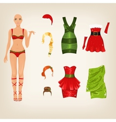 Female Christmas clothes vector image vector image