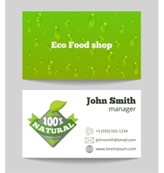 Green organic eco food shop business card vector image