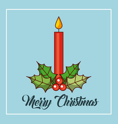 Merry christmas candles burning holly berry vector