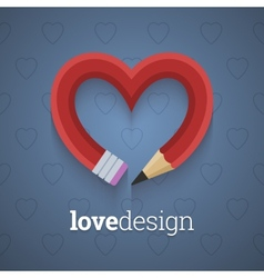 Pencil in the shape of heart vector image
