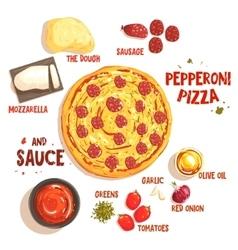 Preparing pizza pepperoni set of ingredients vector