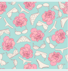 underwear and rose seamless pattern on light blue vector image vector image