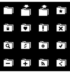 white folder icon set vector image vector image