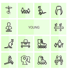 14 young icons vector