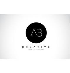 Ab a b logo design with black and white creative vector