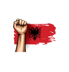 Albania flag and hand on white background vector