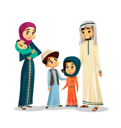 Arab family in traditional clothing vector
