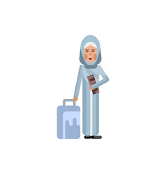 Arabic woman with travel bag and ticket in hands vector