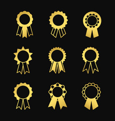 award ribbons golden icons set vector image
