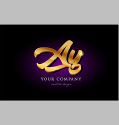 Ay a y 3d gold golden alphabet letter metal logo vector