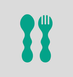 Baby spoon and fork icon vector