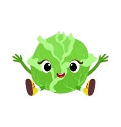 Big Eyed Cute Girly Cabbage Character Sitting vector image