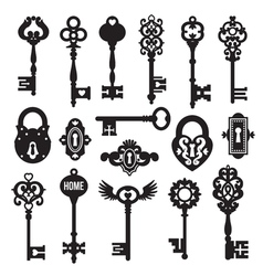 Black Keys And Locks Set vector image