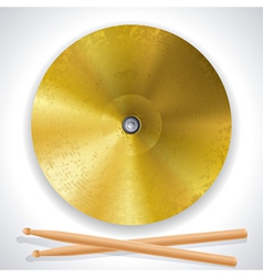 Brass cymbals and drumsticks vector