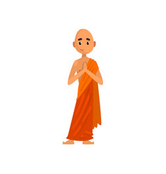 buddhist monk cartoon character praying in orange vector image