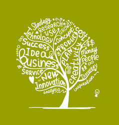 business idea tree sketch for your design vector image
