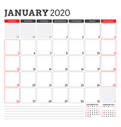 calendar planner for january 2020 week starts on vector image