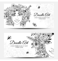 Card Banner - girl with vector image
