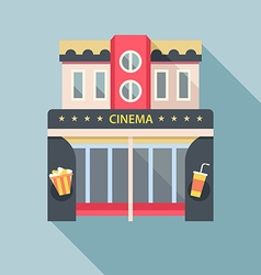 Cinema theater building detailed flat icon vector image