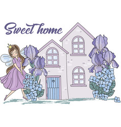 Clip arts sweet home color vector